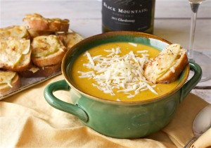 Butternut Squash + Apple Soup with Apple-Gruyere Crostini