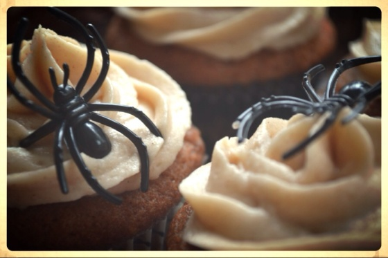Spiders & Apple Cider Cupcakes with Spiked Brown Butter Frosting