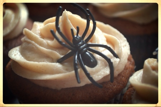 Spider & Apple Cider Cupcakes with Spiked Brown Butter Frosting