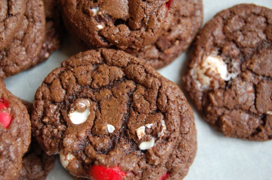 Double Chocolate Cookies with Peppermint White Chocolate M&M's
