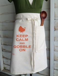 Keep Calm and Gobble On Half Apron