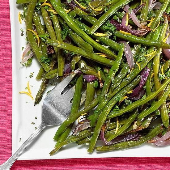 ... Rachel Ray: Green beans and onions sprinkled with an orange gremolata
