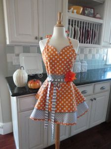Thanksgiving & Fall Women's Tangerine and Gray Apron