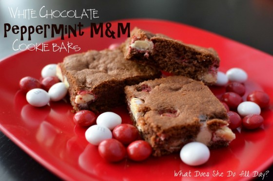 White Chocolate Peppermint M&M Cookie Bars