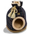 Blue Tartan Duffle Bag Cat Bed
