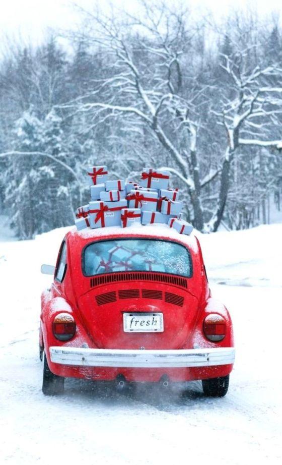 Christmas VW Bug with Gifts