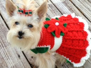 Crocheted Christmas Dog or Cat Sweater Dress