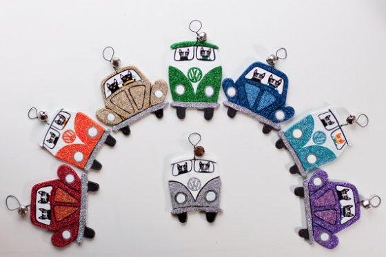 Glittery Volkswagen Road Trip Clay Cat Folk Art Ornaments