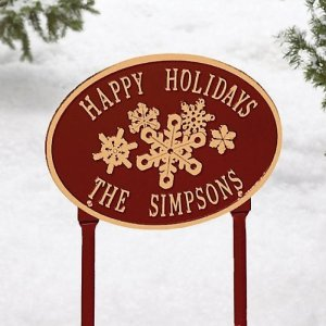 Happy Holidays Personalized Lawn Sign - Brookstone