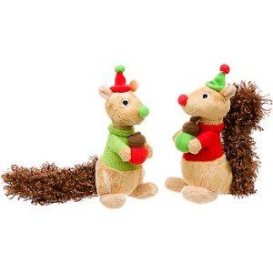 Holiday Plush Squirrel Dog Toy