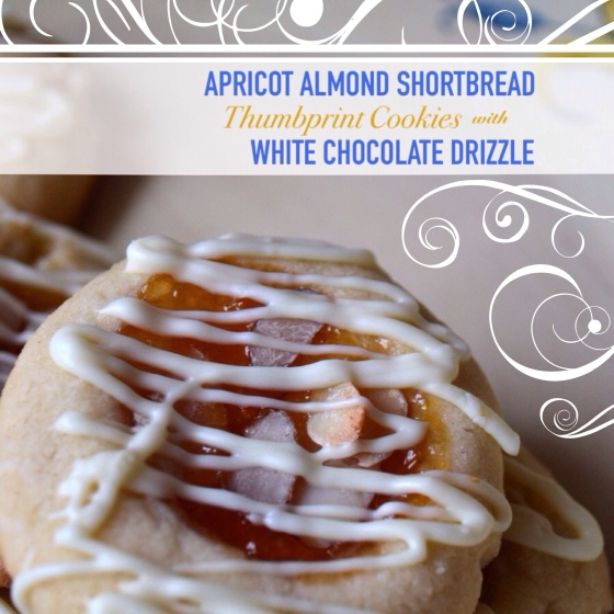 Apricot Almond Shortbread Thumbprint Cookies with White Chocolate Drizzle