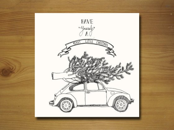 VW Beetle Christmas Card