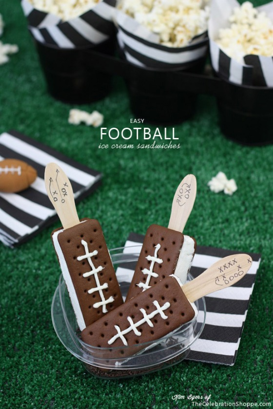 Easy Football Ice Cream Sandwiches