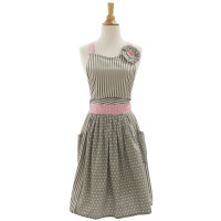 Gray & Pink Wrap-Around Vintage-Inspired Apron