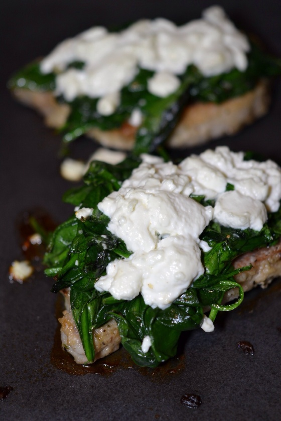 Goat Cheese and Spinach Topped Pork Chops