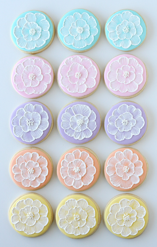 Spring Brush Embroidery Cookies