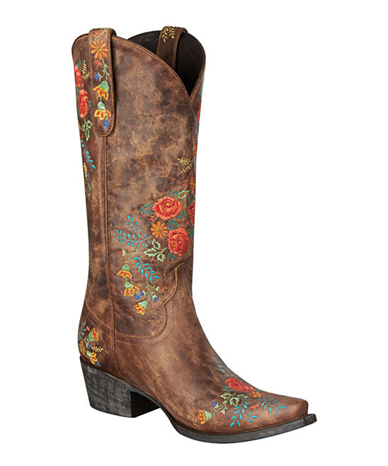 Brown & Red Prairie Rose Cowbooy Boots