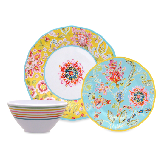Dena Home Provence Melamine Collection Dinnerware | Faith, Hope, Love, and Luck Survive Despite a Whiskered Accomplice