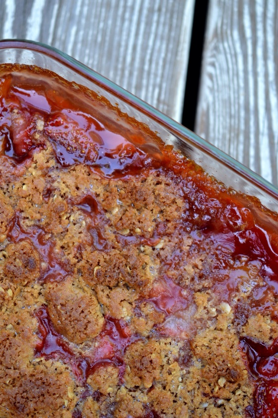 Strawberry Rhubarb Crisp | Faith, Hope, Love, and Luck Survive Despite a Whiskered Accomplice