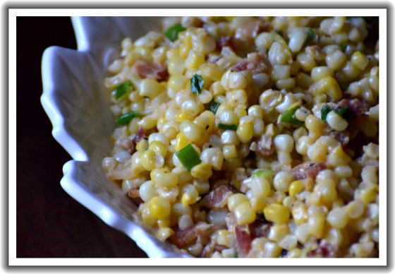 Smoky Creamed Corn with Bacon and Scallions | Faith, Hope, Love, and Luck Survive Despite a Whiskered Accomplice