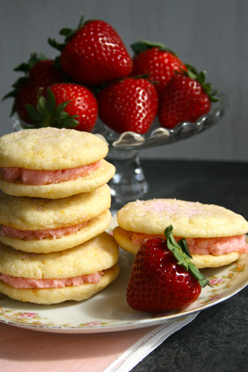 Strawberry Lemonade Sandwich Cookies | Faith, Hope, Love, and Luck Survive Despite a Whiskered Accomplice