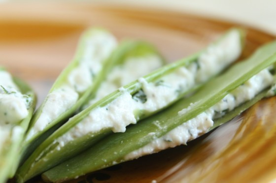 Herb and Cheese Stuffed Snap Peas | Faith, Hope, Love, and Luck Survive Despite a Whiskered Accomplice