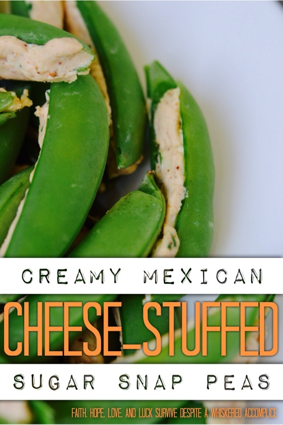 Creamy Mexican Cheese-Stuffed Sugar Snap Peas | Faith, Hope, Love, and Luck Survive Despite a Whiskered Accomplice