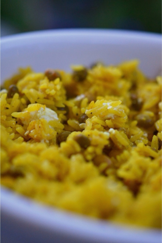 Yellow Rice with Feta and Pigeon Peas | Faith, Hope,Love, and Luck Survive Despite a Whiskered Accomplice
