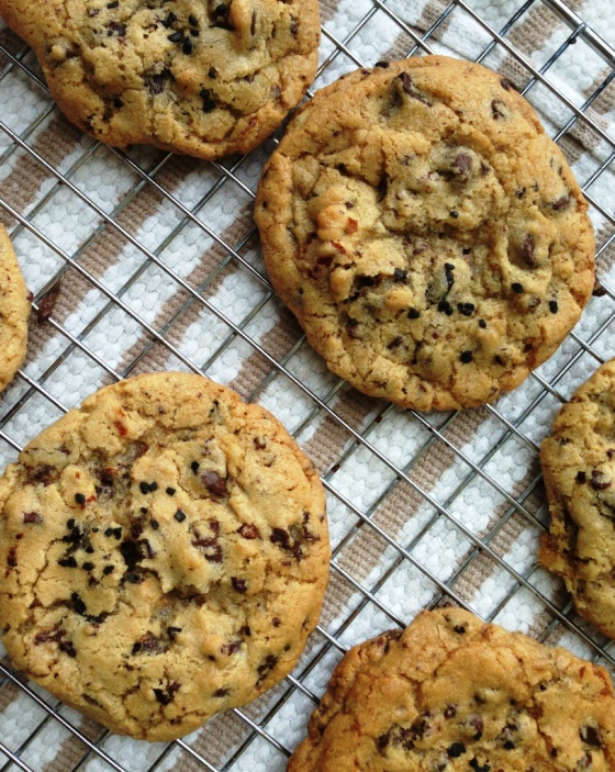 Roasted Almond, Chocolate Chunk and Cocoa Nib Cookies with Black Lava Salt | Faith, Hope, Love, and Luck Survive Despite a Whiskered Accomplice